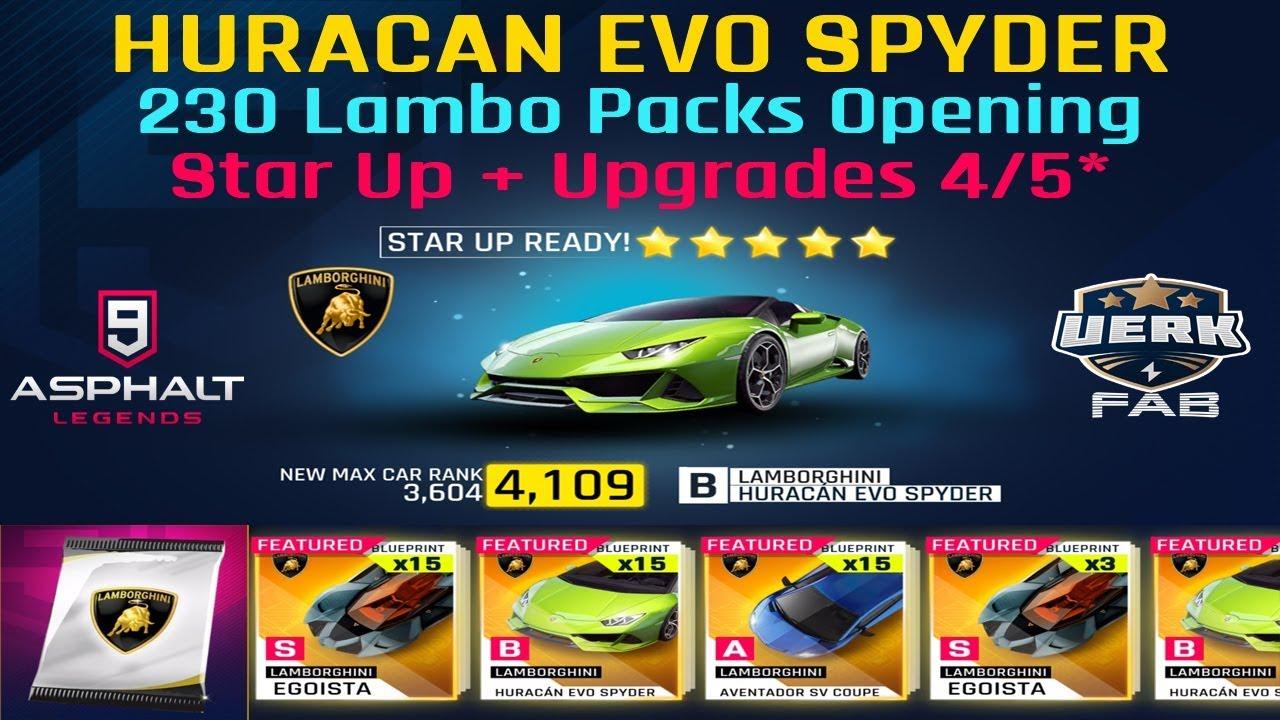 Asphalt 9 Opening 230 Lamborghini Packs Lamborghini Huracan Evo