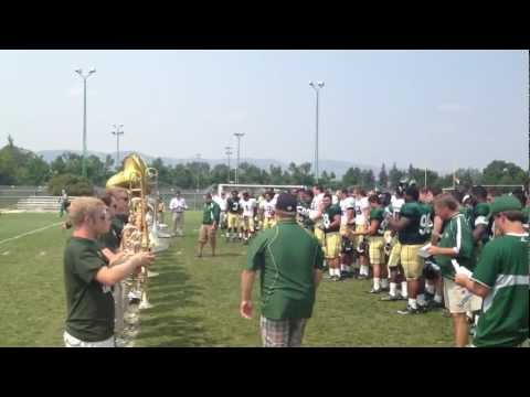 CSU Football Team Learns Fight Song from Marching Band