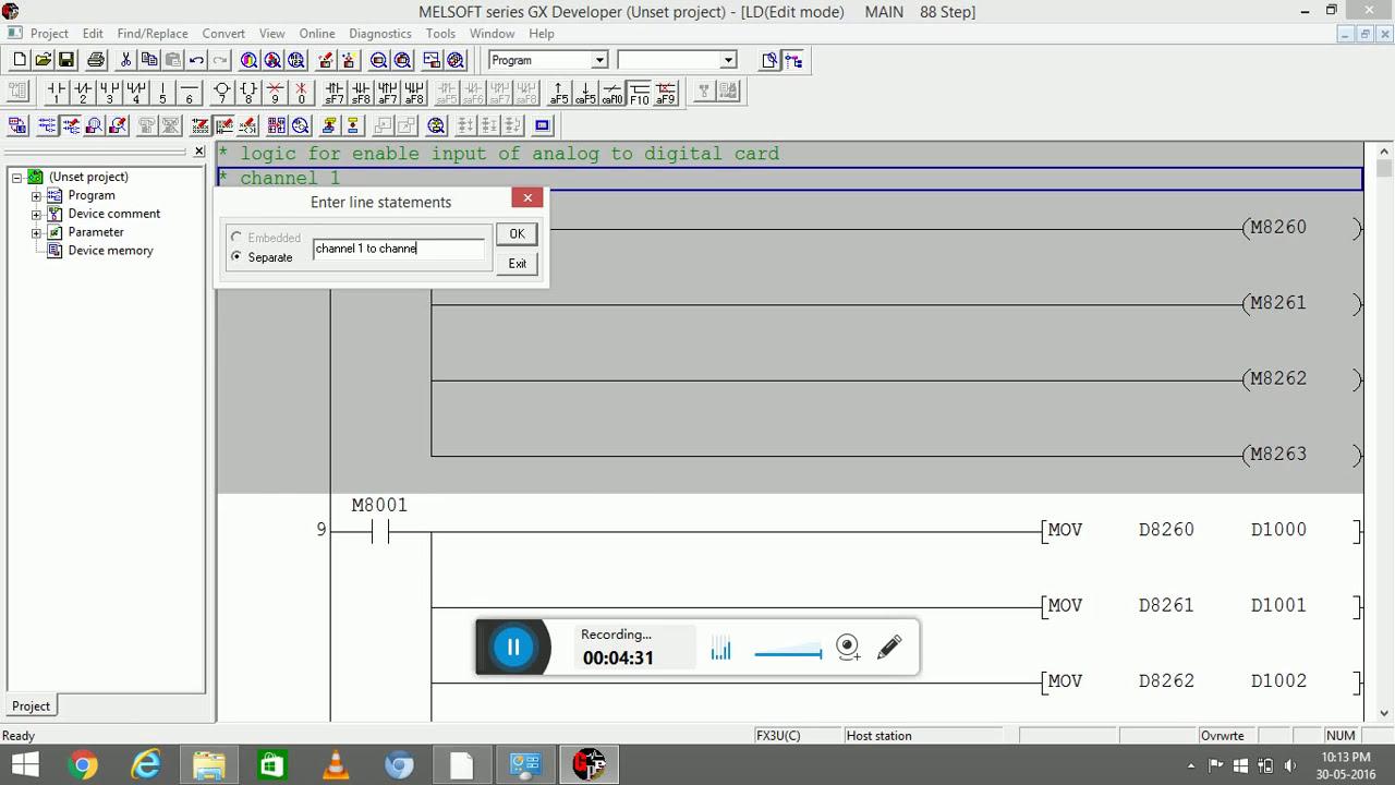 fx3u- 4 adp card configuration and temperature programm