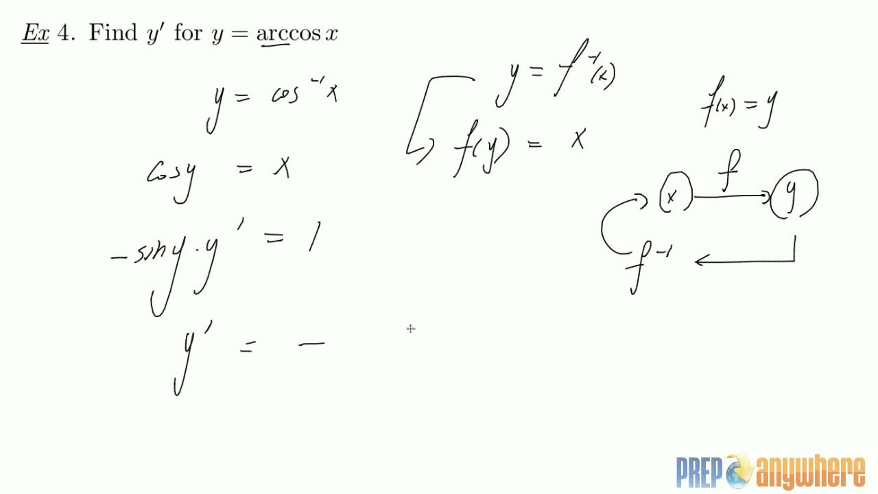8 Finding the derivative of Inverse Cos arccos - YouTube