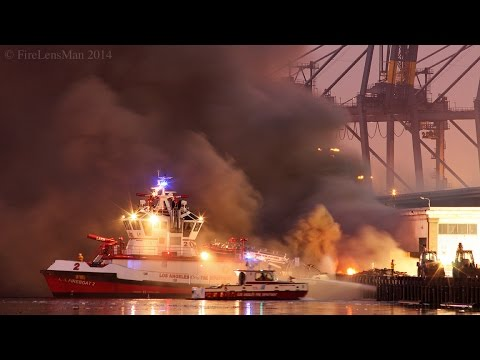 LAFD / Wharf Fire / San Pedro Fire Boats in Action! / Part 2 of 3 / Dawn-Morning