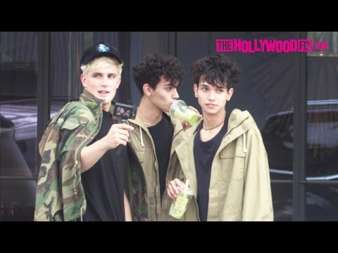 Jake Paul & The Dobre Twins Hang Out At Restoration Hardware On Melrose Avenue 10.29.16