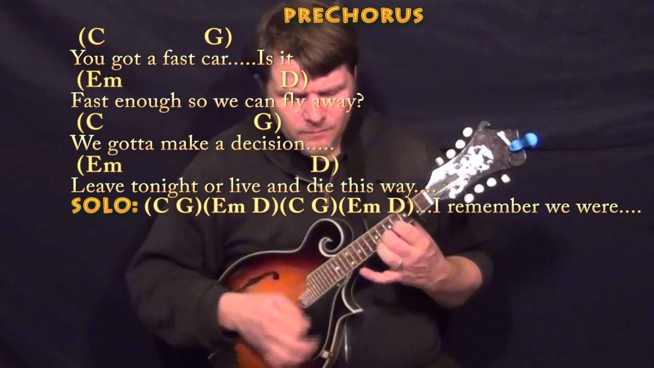 Fast Car Tracy Chapman Mandolin Cover Lesson With Chordslyrics