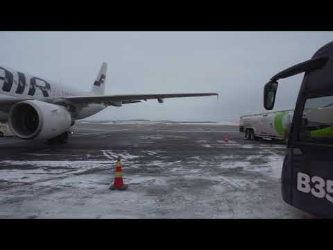 Finland, Helsinki, airport bus ride from gate to Finnair airplane + boarding