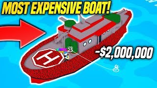 I BOUGHT THE MOST EXPENSIVE BOAT IN FISHING EMPIRE SIMULATOR!! *IT'S HUGE* (Roblox)