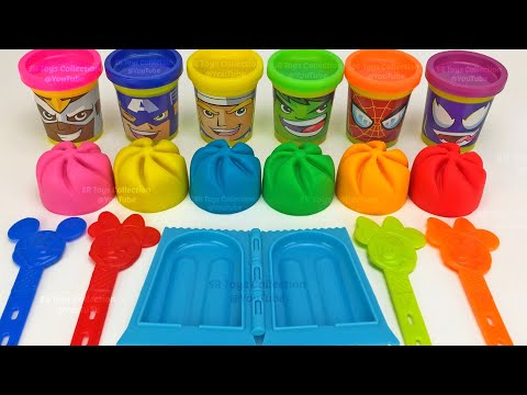 Making 6 Ice Cream out of Play Doh PJ Masks Yowie Surprise Toys Hatchimals Kinder Surprise Eggs