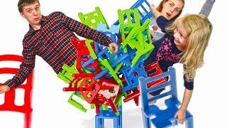 Строим Башню из стульев Челлендж попробуй устоять на стуле развлекательное детское видео