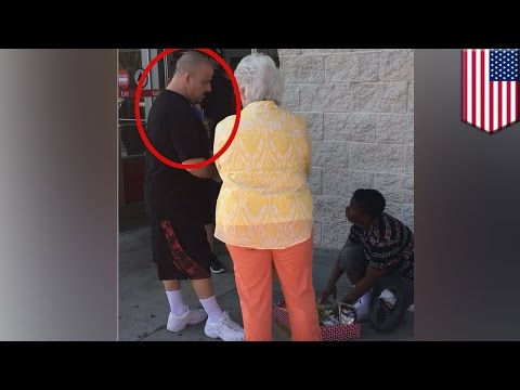Hero humiliates old lady harassing girl for selling candy without IRS approval- TomoNews