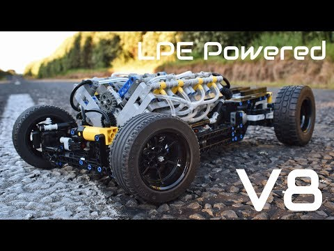 [MOC] Lego Technic Pneumatic HOT ROD Chassis - 1/8th Scale - With a V8 LPE!