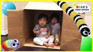 Twins baby hiding and playing in a box! Family fun kids pretend playtime with Ryan's Family Review