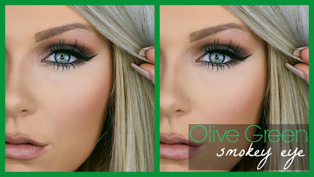 olive green smokey eye | makeup tutorial