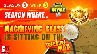 Fortnite WEEK 3 Search Magnifying glass on the Treasure Map (Season 8 Free Battle Star Location)