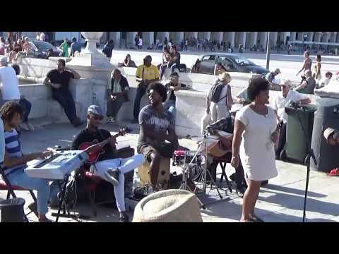 Street music band Nôs Raiz, Cabo Verde music, Lisbon 2017.