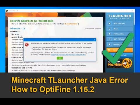 Minecraft TLauncher Java Error - How To OptiFine 1.15.2