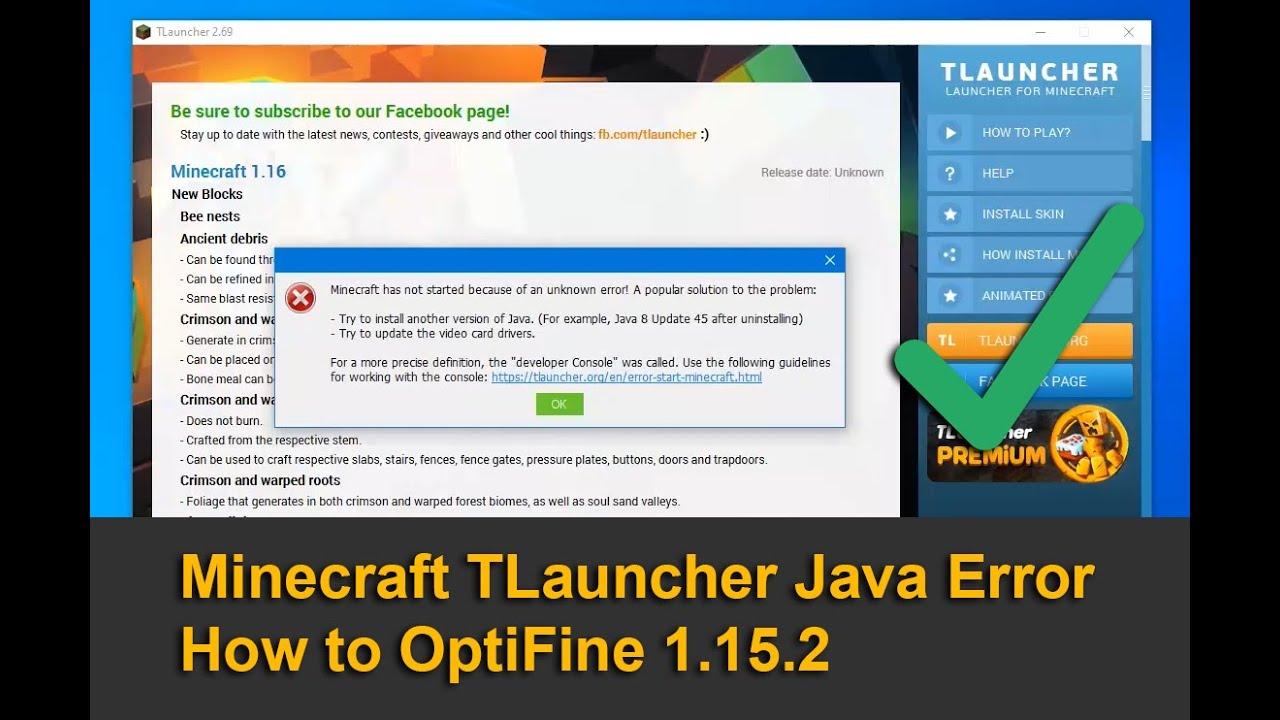 Minecraft TLauncher Java Error - How to OptiFine 112.1125.12 - YouTube