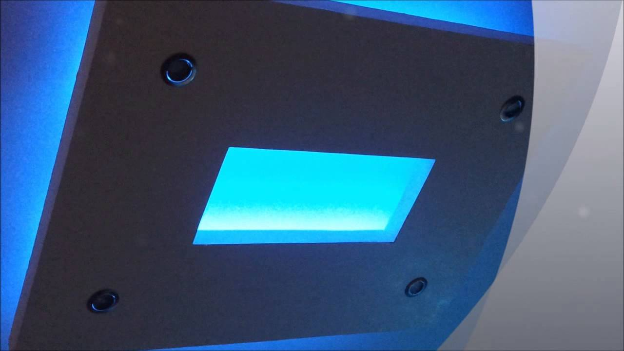 plafond led lumiere indirect blue youtube. Black Bedroom Furniture Sets. Home Design Ideas