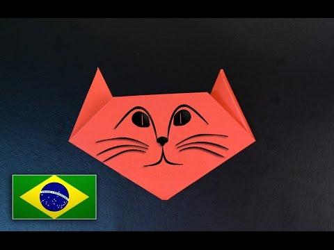 Origami Iniciante : Cabeça de gato - Instruções em português