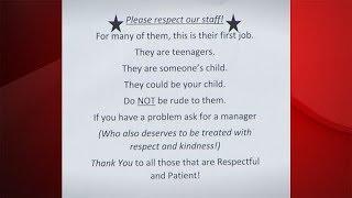 Colonie McDonald's sign calls for respect