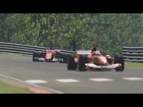 Ferrari F2004 vs Ferrari F138 vs Ferrari SF15 T vs Ferrari SF70H at Nordshleife