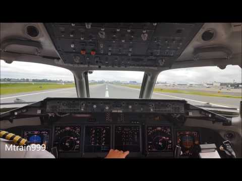 717 take off, LGA, cockpit view