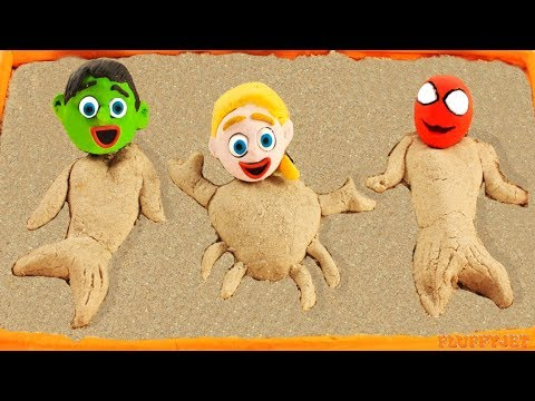 Superhero Baby Hulk Mermaid Frozen Elsa Play Doh Cartoons Stop Motion Animations