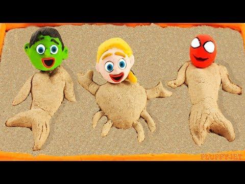 Superhero Baby Spiderman Hulk Sandbox Mermaid Playtime Play Doh Cartoons Stop Motion Kids Animations