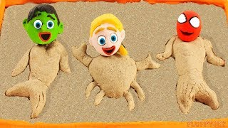 Superhero Baby Spiderman Hulk Sandbox Mermaid Playtime Play Doh Cartoons Stop Motion Kids Animations