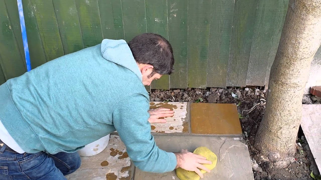 How To Point A Patio And Clean Indian Sandstone   YouTube