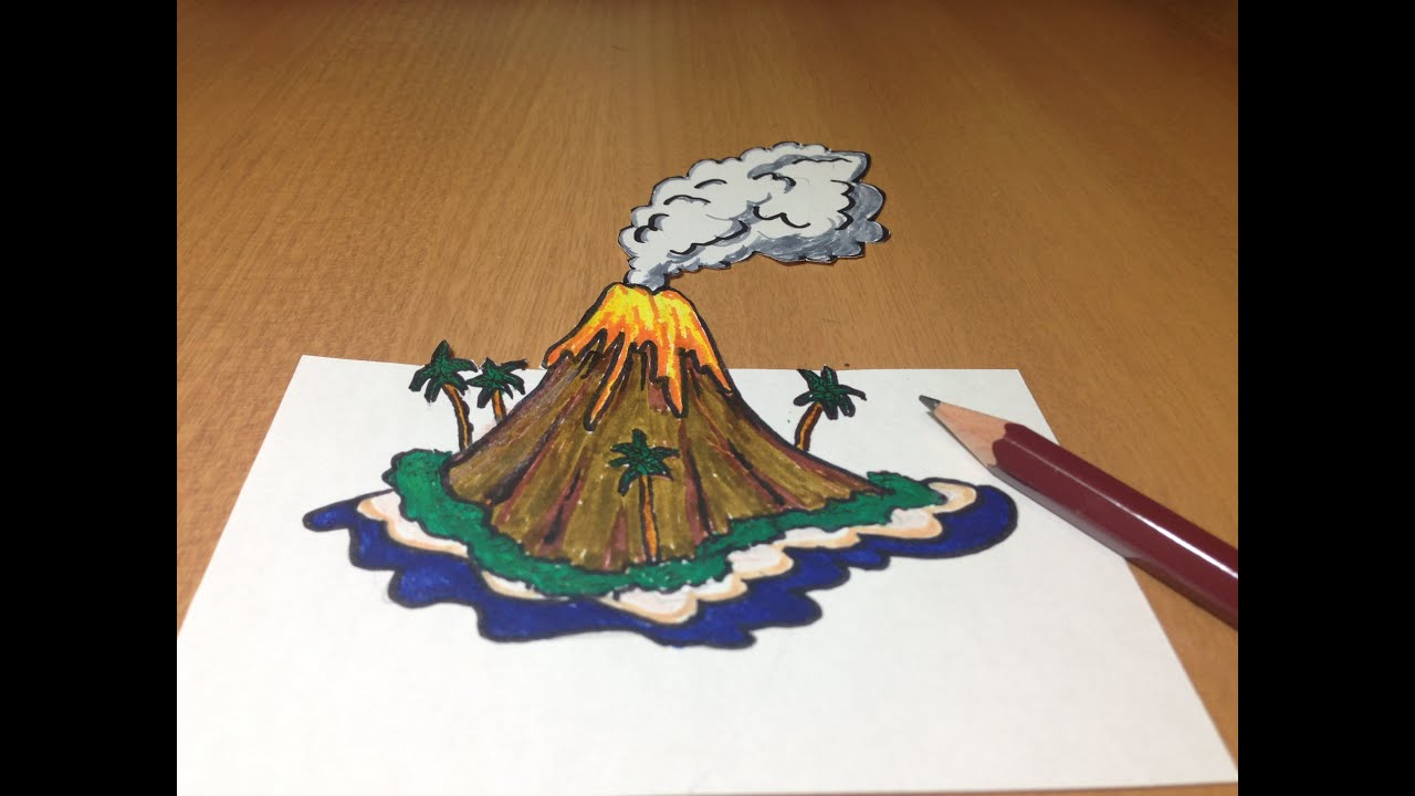 3d volcanic island drawing anamorphic illusion youtube ccuart Gallery