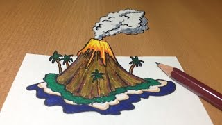 3D Volcanic Island Drawing, Anamorphic Illusion