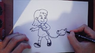 How to draw  Little Girl walking a  Dog very easy