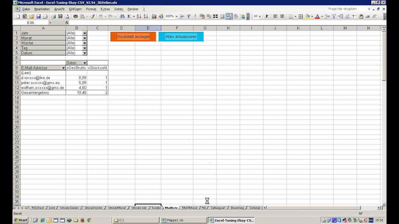 Excel Tuning Csv Ebay Rechnungsprogramm Youtube
