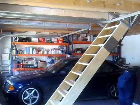 Retracting loft staircase - YouTube