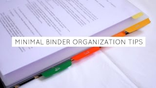 Minimalistic Binder Organization Tips