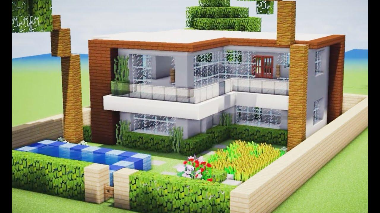 Minecraft como fazer uma pequena casa moderna 205 youtube for Casas modernas minecraft keralis