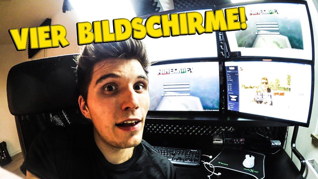 Gamer zimmer 6 bildschirme  VIER BILDSCHIRME! -