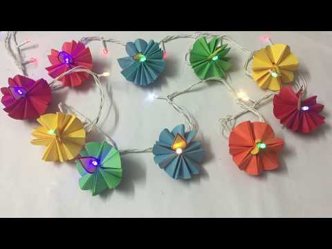 DIY:Colour Paper Diyas /Light decoration ideas for Diwali/Christmas lights