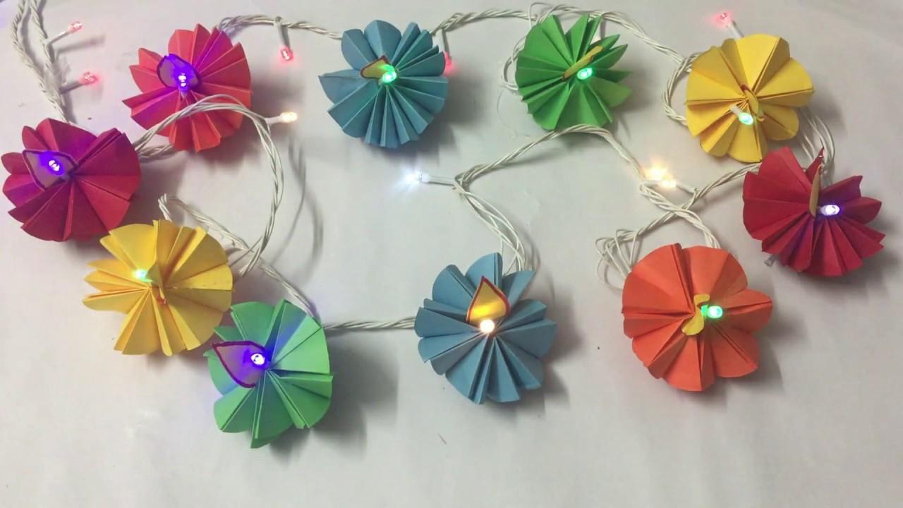 Diy Colour Paper Diyas Light Decoration Ideas For Diwali Christmas