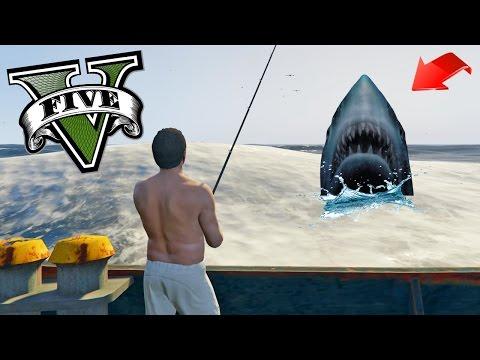Pescando tiburones y cosas en el mar!! - GTA V Mods