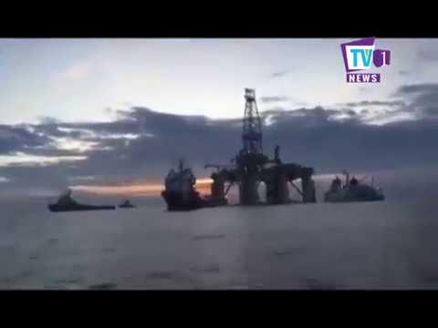 """Oil Rig """"Olinda Star"""" Offloading by HES on TV1 News Sri Lanka"""