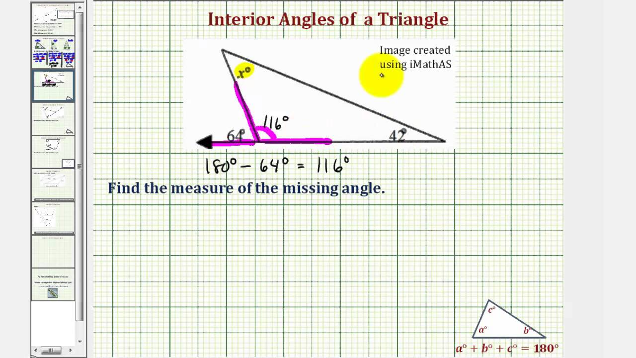 Ex find the measure of an interior angle of a triangle - Measure of exterior angles of a triangle ...