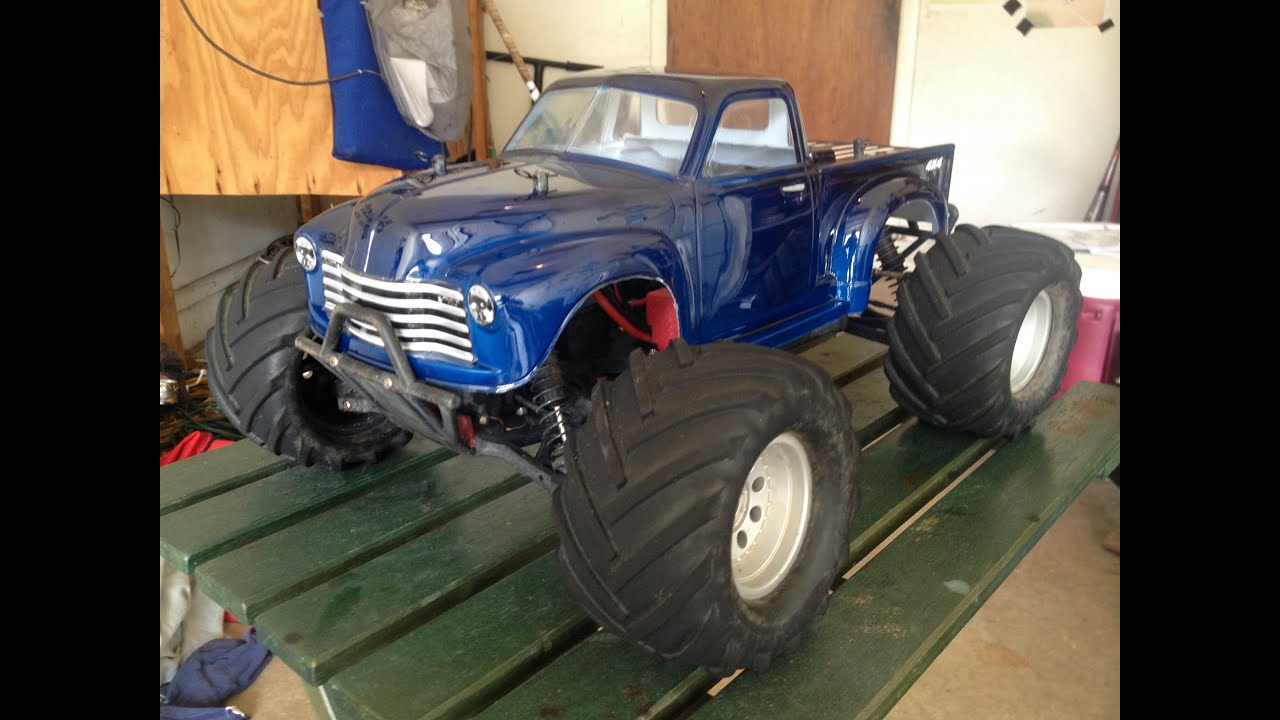 53 Chevy Truck body on Helion Invictus Monster Truck R C at New Smyrna Beach Flordia