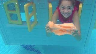 Havuzun Dibinde Slime Yapıp Oynadık Eğlenceli Slime Videosu