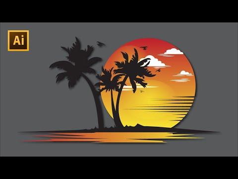 Logo Design in Illustrator cc   How to Make Beach and Travel Logo   Graphic Design Tutorial