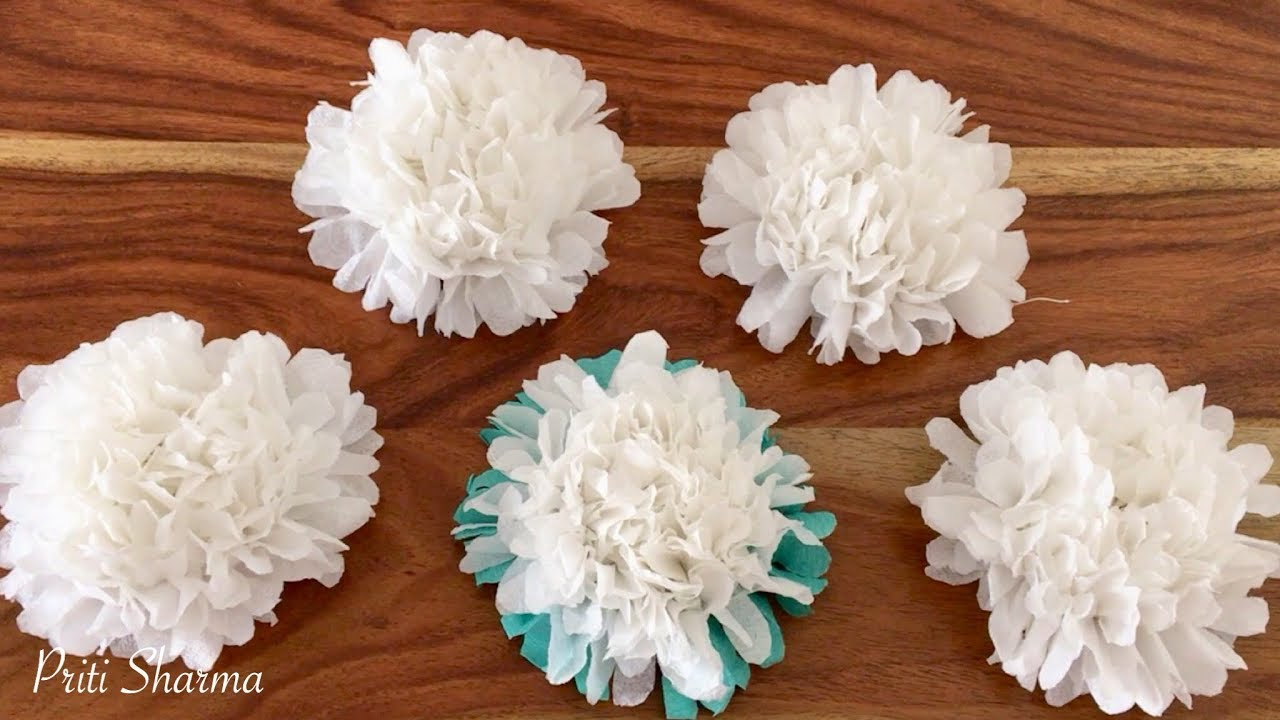 How to make small tissue paper flower simple tutorial tissue paper how to make small tissue paper flower simple tutorial tissue paper flower priti sharma mightylinksfo