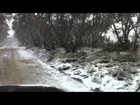 Snow Drive Tamboritha Road in The Alpine National Park