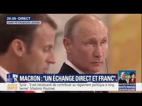 Macron - Poutine - Conférence de presse au Forum de Saint-Pétersbourg