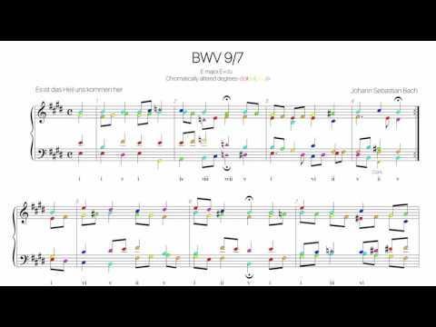 Bach Chorale BWV 9-7 Harmonic analysis with colored notes -Es ist das Heil uns kommen her-