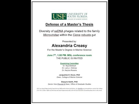 Alexandria Creasy, For the Master's Degree in Marine Science