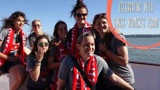 Celebrating the Women's World Cup Soccer with the Swiss Women's Team! Hopp Schwiiz!